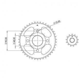 KIT CHAINE AFAM ADAPT. 125 MASH SEVENTY FIVE / CAFE RACER / SCRAMBLER 428 13X42 (DEMULT. ORIGINE) Kits chaînes sur le site du...