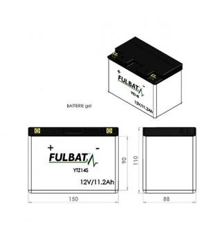 BATTERIE FTZ14S FULBAT 12V11.2AH LG150 L88 H110 (GEL - SANS ENTRETIEN) - ACTIVEE USINE