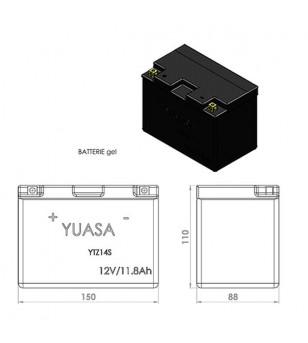 BATTERIE YTZ14S YUASA 12V11.8AH GEL SANS ENTRETIEN LG150 L87 H110 - ACTIVE USINE