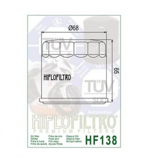 FILTRE A HUILE MAXI SCOOTER/MOTO HIFLOFILTRO HF138 ADAPT. 650 BURGMAN/GSR600/GSX-R/SV650