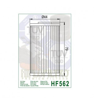 FILTRE A HUILE MAXI SCOOTER HIFLOFILTRO HF562 ADAPT. 125 KYMCO DINK/GRAND DINK