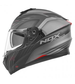 CASQUE INTEGRAL DOUBLE ECRAN NOX N918 UPSIDE NOIR/GRIS/ROUGE MAT T61-62 XL