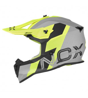 CASQUE CROSS NOX N633 VIPER GRIS NARDO/JAUNE FLUO T53-54 XS
