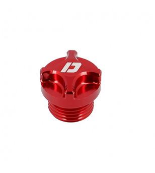 BOUCHON HUILE MECABOITE ALU CNC DOPPLER ADAPT. DERBI SENDA/APRILIA RS 06/RX/RS4/SMT ROUGE 50 À BOITE sur le site du spécialis...