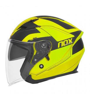 CASQUE JET DOUBLE ECRAN NOX N127 METRO JAUNE FLUO MAT T63-64 XXL ÉQUIPEMENTS sur le site du spécialiste des deux roues O-TAKE...