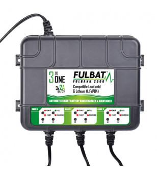 CHARGEUR BATTERIE FULBAT FULLBANK 2000 3 SORTIES - 12V 3X2A MOTO sur le site du spécialiste des deux roues O-TAKET.COM